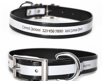 Black Reflective Waterproof Personalized Dog Collar -- Laser Engraved Reflective Waterproof Black Dog Collar