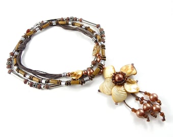 Bohemian flower necklace, repurposed necklace, up cycled necklace,  costume jewellery, flower and beads necklace, hippie necklace.