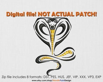 INSTANT DOWNLOAD - Golden Cobra machine embroidery design. Embroidery file