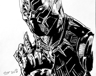 Black Panther Ink Drawing