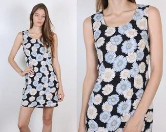90s Daisy Dress // Vintage Mini Floral Grunge Tank Minidress - Small to Medium