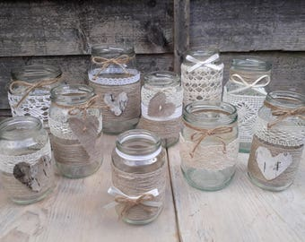 10 Rustic Vintage Wedding Lights Handmade Glass Linnen Jars Tea Light Candle Holders Decor Glass Linnen Jars barn wedding table decorations
