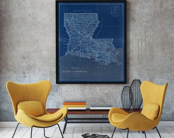 Louisiana - Louisiana Map - Map of Louisiana - vintage map - Vintage Louisiana - Old Louisiana Map - Louisiana Art - Louisiana State Map