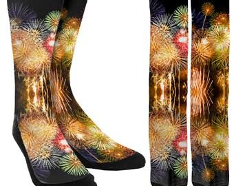 Fireworks Crew Socks - Fireworks - Mens Socks - Womens Socks - Crew Socks  - Novelty Socks - Cool Socks - 100% Comfort - FREE Shipping