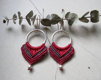 Handmade macrame and stainless silver earring. Limited availability!