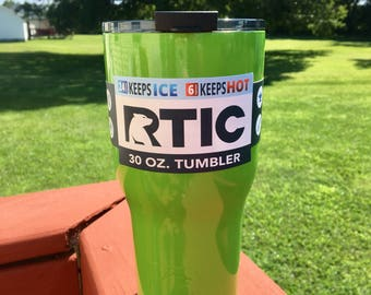 NEW RTIC 30oz Powder Coated Tumbler with Spill Proof Lid-Lime Green