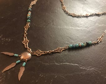 Double dream catcher and turquoise necklace