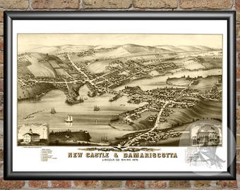 New Castle & Damariscotta,Maine Art Print From 1878-Digitally Restored Old Castle Damariscotta,ME Map-Perfect For Fans Of Maine History