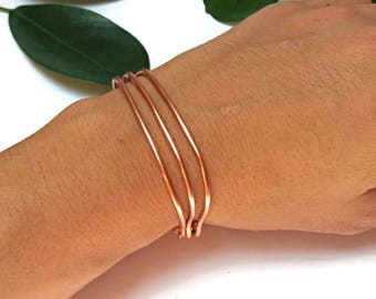 Layered Wire Cuff for her, Thin Stacking Bangle, Everyday Bracelet, Modern Jewelry for Women, Dainty Bracelets for Women