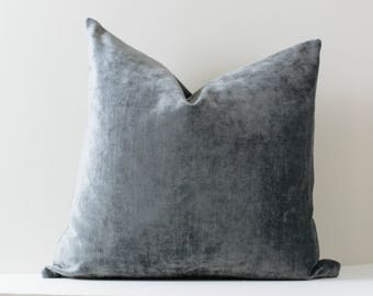 Charcoal Grey Velvet Pillow Dark Grey Luxe Velvet Pillow Cover Gray Decorative Pillow Covers Velvet Finish Cushion ONE SIZE ONLY
