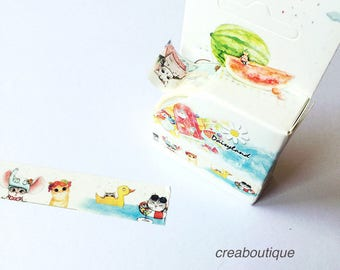 Masking Tape summer cat /PAPER Tape/Deco Tape/washi tape/1 roll masking tape (washi) illustrations of cats in the summer, 15 mm * 5 m