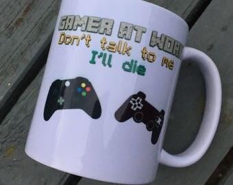 Gamer mug minecraft gift Christmas birthday cup gamer at work