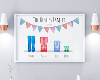 Family Wellington Boot Personalised Print, Digital Download, Welly Print, Welly Boot Family Print, Anniversary Gifts, Valentines Gifts,