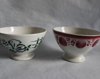 French vintage bowls cafe au lait rare small bowls Sarreguemines Badonviller French style kitchen