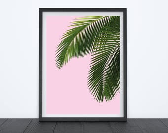 Tropical Plant Leaf Print, Home Decor, Wall Art, Pink Prin, Birthday Present, Gift for Her, Leaf Love