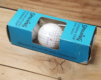 3 Spalding Canada Cup Golf Balls New in Box Vintage 70s 80s Gift for dad Summer Sport Man Cave Decor Golfing