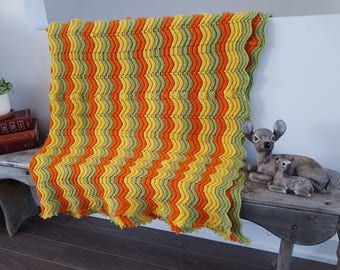 "Vintage Rustic Afghan Crochet Knit Throw Blanket / 51"" x 67"" / Couch Living Room Cabin Rustic / Bedding Bed Coverlet  Yellow Green chevron"