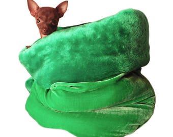 Teacup Bed Lime Green Plush Pet Snuggle Bed Dog Bed  Pet Burrow Bed Pet Cuddle Cup Dog Cat Pet Warm Dog Bed, Pet Sleeping Bag, Pet Carrier