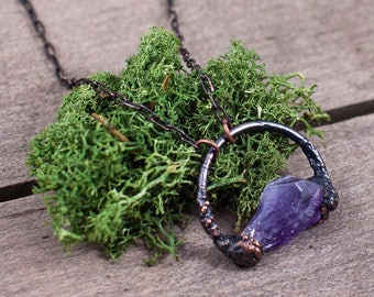 Raw Crystal Amethyst Necklace / Small Amethyst Crystal