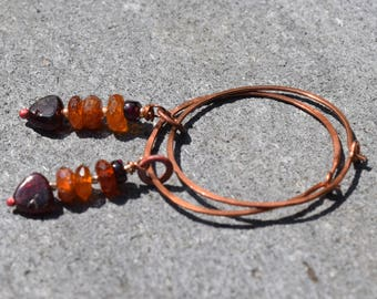Copper and Garnet Earrings~Copper Hoops~ Earthy Boho Earrings~ OOAK Handmade