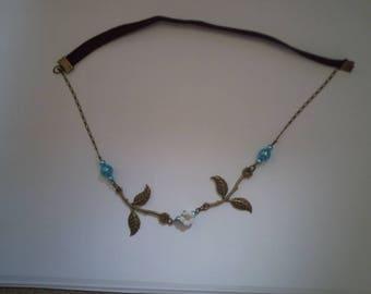 headband bronze leaves and blue beads