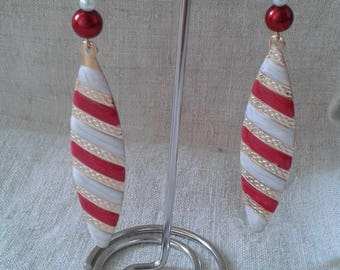Red and white striped earrings