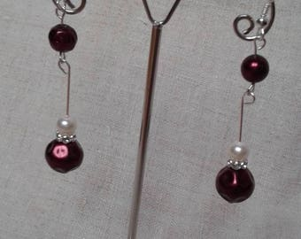 Red and Ivory Pearl Earrings