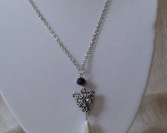 """pretty """"Silver Panther and Pearl"""" necklace"""