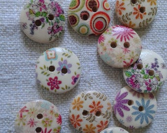 set of 10 multicolored floral buttons