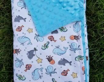 Sea Creatures Blanket-Sea Blanket-Ocean Blanket-Shark Blanket-Fish Blanket-Ocean Nursery-Baby Shower Gift-Boy Blanket-Under the sea