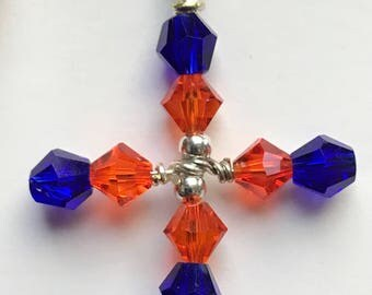 Swarovski Dark Blue & Hyacinth bicone Cross w/ Chain(not pictured)