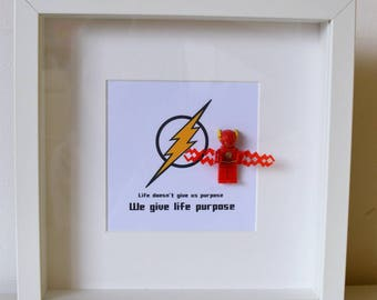 Superhero//Shadow Box Frame//The Flash//Minifigure//Gift//Daddy/Dad/For Him//My Hero//Personalise//Geek//Kids Room//Nursery//Lego//God Child