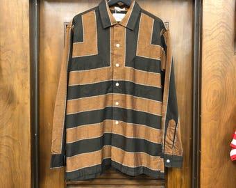 Vintage 1950's Border Stripe V-Panel Long Sleeve Rockabilly Shirt