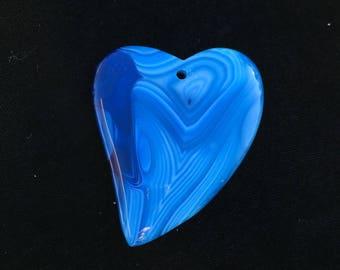 Onyx Agate Pendant Stone Pendant Blue White Stripes Heart Gemstone Agate Pendant Bead