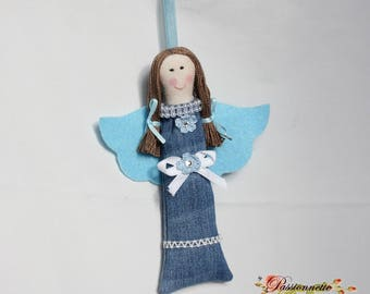Doll soft toy handmade upcycled denim