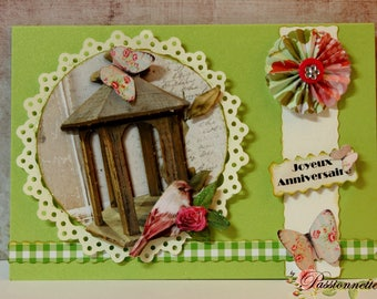 3D postcard, hand made, happy birthday