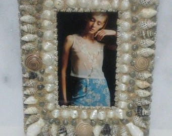 Beautiful seashell picture frame