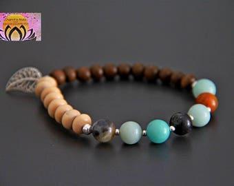 Amazonite Wood Silver Long Bracelet-Gemstone Wood Bracelet-Necklace Bracelet Set-Boho Chic Elegant Yoga Jewellery-Layering-Gift for Her