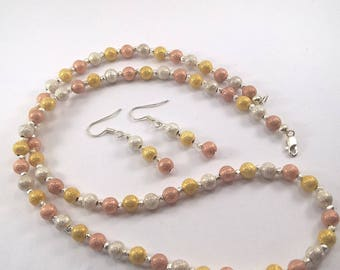 Beaded necklace, necklace, contemporary necklace, Silver, Rose Gold and Gold coloured beaded necklace and earring set,