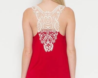 Red Tank W/ Crochet Lace Back
