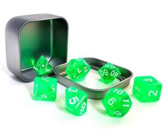 Green Translucent Polyhedral Dice Set