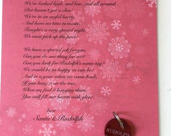 Rudolph's Lost Name tag Santa letter