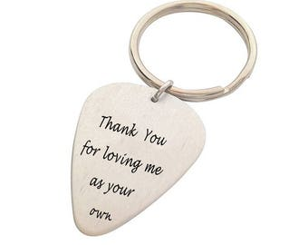 Father's Day Gifts Guitar Pick KeyChain Thank You For Loving Me As Your Own...
