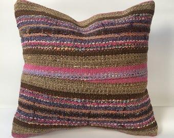 """Turkish kilim pillow,kilim pillow,16""""x16"""" pillow,kilim cushions,boho pillow,home decor,cushion cover,kilim pillow cover,aztec pillow cover"""