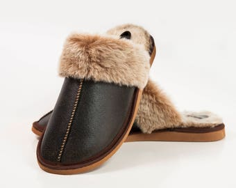 Hand crafted Luxury Mens Genuine Sheepskin Mule Slippers, 100%l Fur Lined