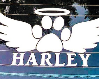 In memory dog vinyl decal with angel wings