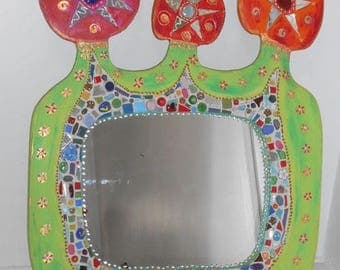 Happy mirror ' imaginary garden 59 X 72 cm painting and ceramic tile