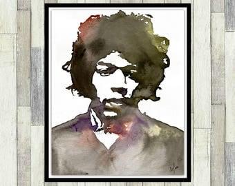 Jimi Hendrix Inspired, Original Watercolour Painting, Jimmy Hendrix, Men's Gift, Women's Gift, Guitar Player Gift, Handmade Item, Wall Art,