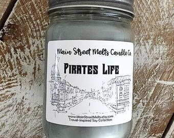 PIRATES LIFE Disney Candle - 12oz Jar / Disney Candle Natural Soy Wax - Main Street Melts Candle Co. Pirates of the Caribbean Black Sea