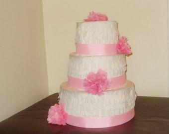 Light pink wedding cake pinata. Birthday cake pinata.
